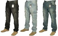 Mens Heavy Duty King Size Cargo Combat Buddy Jeans Casual Work Designer 30-60