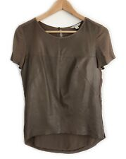 Country Road Leather Splice Top Size XS Tan Beige Short Sleeve Tee T-Shirt