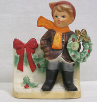 "Vintage Napco Christmas Planter Boy Holding Wreath #X8370 Japan '60s 5 1/2"" tall"