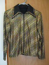 Western Pleasure Show Jacket Shirt womens small/Medium black w irridescent gold