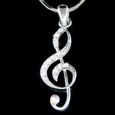 w Swarovski Crystal TREBLE g CLEF Musical music NOTE Jewelry Charm Necklace Xmas