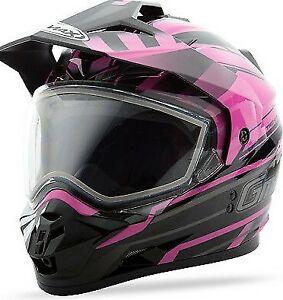 GMax GM11S Snow (Dual Sport) Helmet- Trekka graphic Pink/Black