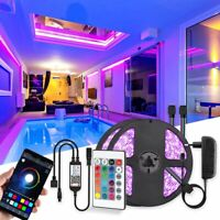 32ft 3528 RGB Strip Light 600 LEDs +Bluetooth APP Remote Control+12V Power Kits