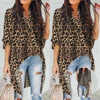 Hem Print Leopard Blouse Women Low High US Shirt Asymmetrical V Neck Tops
