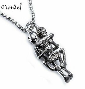 MENDEL Skull Skeleton Pendant Necklace Stainless Steel Biker Halloween Jewelry