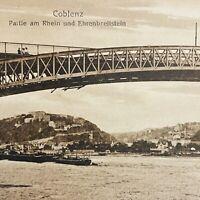 Antique (1919) German Coblenz Bridge Over Rhein River Real Photo Postcard