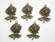 5 Metal Rose Charms  - Antique  Bronze Colour - 25mm