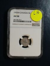 1903H Canada Five Cents NGC AU50 LH BETTER DATE SILVER 5C Coin BUY IT NOW!