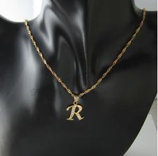 Inicial R Collar 18 CT Oro Lleno letra del alfabeto Colgante Cadena Topacio delicada