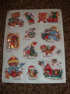 11-Vintage Hallmark Christmas Puffy Sticker 1 Sheet 1980's Padded Raised NWOP