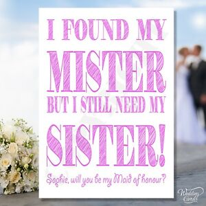 Will you be my Maid of honour Card Sister Bridesmaid Invite wedding Personalised