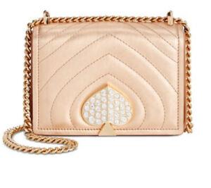 kate spade  Amelia Jeweled Metallic Leather Shoulder Bag Rose Gold/Gold NWT!