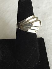 Sterling Silver Large Five Rib Domed Ring Size 8