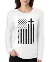 Christian Distressed Black USA Cross Flag Religious Women Long Sleeve T-Shirt