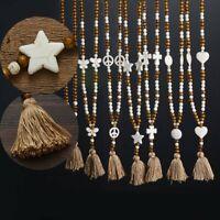 Women Jewelry Butterfly Heart Beads Tassels Pendant Necklace Long Sweater Chain