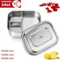 G.a Stainless Steel Bento Lunch Box Food Container Storage 3 Grid Large Capacity