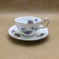 Vintage Royal Stuart Spencer Stevenson England Bone China Teacup Saucer Violets