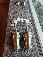Pair (2) Vintage Hollywood Regency Brass Stiffel Hanging Swag Ceiling Lamps