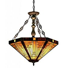 Tiffany Style 3 Light Hanging Ceiling Pendant Beige Green White Stained Glass
