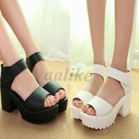 New Summer Women Sandals High Heel Platform Shoes Chunky Peep Toe Gladiator
