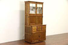 Hygena English 1930's Oak Vintage Hoosier Kitchen Cupboard or Physician Cabinet