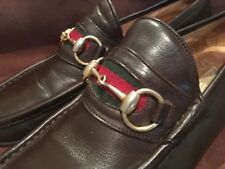 VINTAGE GUCCI DARK BROWN LEATHER HORSE BIT LOAFERS MOCCASSIN Mens Size 44 10 US