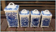 Vintage Hand Painted Blue + White China Canisters Jars 1x Large + 3x Small