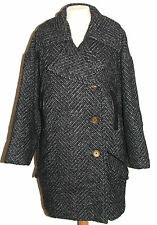 Designer PYRUS Black & Grey Herringbone Wool Mix Winter Coat Small 10-12