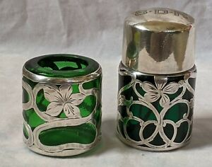 2 Art Nouveau Sterling Silver Overlay Glass items Perfume & Toothpick No Reserve