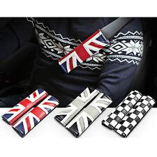 FOR MINI COOPER LEATHER UNION JACK UK FLAG SEATBELT COMFORTABLE SHOULDER PADS