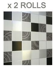 Dotty Vinyl Wallpaper Tile Effect Washable Kitchen Bathroom Black Silver 2 Rolls