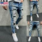 Mens Ripped Skinny Denim Trousers Casual Stretch Distressed Jeans Slim Fit Pants