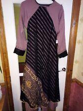 Abaya Burka Dubai gold embroidery sequins+ Hijab Scarf - Black plum- UK