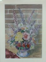 Signed 1964 Vintage Original Framed  Watercolour Painting Vase of Flowers