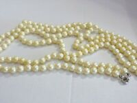 Vintage   Faux Pearl Single Strand Individually  Knotted Necklace/ Rope Length