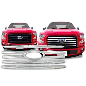 Chrome Grille Overlay FITS 2015 2016 2017 Ford F150 F-150 F 150 XL / XLT ONLY!