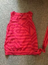 Monsoon Silk Blend Red Orange Stripe Sleeveless Top Size 8 VGC