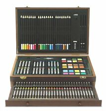 New Art Set 142 Piece Artist Kit Pencils Pastels Watercolor Wood Case Cabinet