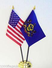 Vereinigte Staaten Von Amerika & Pennsylvania Doppel Friendship Tisch Flagge Set