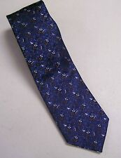 Ermenegildo Zegna Tie Italy Silk #102 Shiny Black Blue Tiny Flowers White Brown