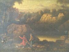 SALVATOR ROSA seguace PAESAGGIO CON VIANDANTI olio su tela XVIII sec cm 43 x 64