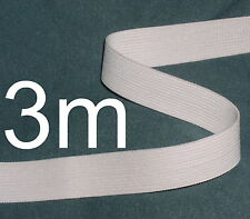 WHITE ELASTIC ¾ INCH TAPE ~ 3m long length of hem edging ~ ideal for waist bands