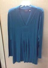 Motto Women's Long Sleeve Teal Block V-neck size 2X