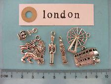 6 tibetan silver London charms London eye palace guard Big Ben royal crown bus