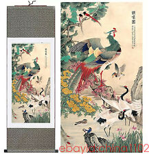 "Home decor Chinese silk scroll painting Flowers and birds Ink painting ""百鸟朝凤"""