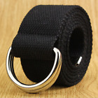 New Canvas Web D Ring Belt Silver Buckle Military Style For Men & Women Ship Us
