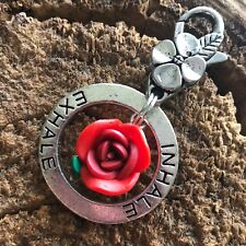 Inhale Exhale Red Rose Flower Tibetan Silver Charm Pendant KeyChain Yoga Buddha
