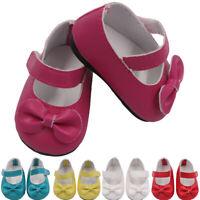 18Inch American Mini Bow Dress Magic Sticker Cute Toy Accessories Doll Shoes PU