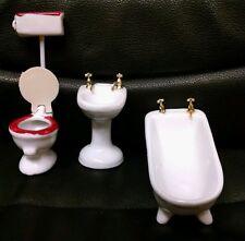 Vintage Doll House 3 Pc Old Fashioned Mini Porcelain Bathroom Set, MIB! 1976