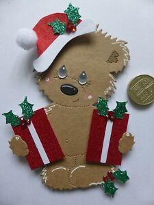 "4 Large ""Bearing Gifts""  Bear 3D Handmade Card Toppers Nan Grandma Mum Dad Kids"